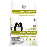 Bayer Quad Dewormer Chewable Tablets for Dogs