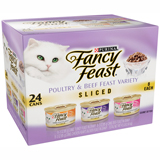 Fancy Feast Sliced Poultry & Beef Feast Variety Pack Chicken Hearts & Liver, Beef Feast, Turkey Feast 24/3oz