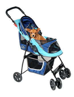 Dog strollers are great for traveling with senior dogs or dogs that have recently had surgery.